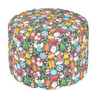 Colorful animated christmas character icon pattern pouf