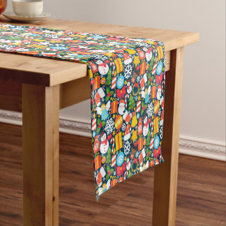 Colorful animated christmas character icon pattern short table runner
