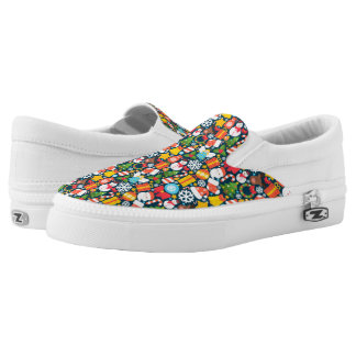 Colorful animated christmas character icon pattern Slip-On sneakers