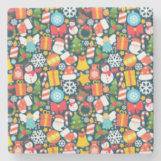 Colorful animated christmas character icon pattern stone coaster