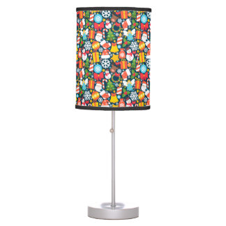 Colorful animated christmas character icon pattern table lamp