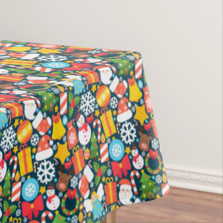 Colorful animated christmas character icon pattern tablecloth