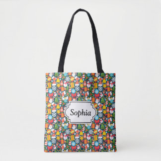 Colorful animated christmas character icon pattern tote bag