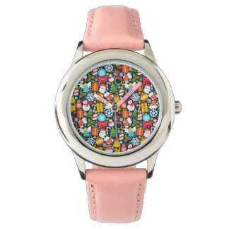 Colorful animated christmas character icon pattern watch