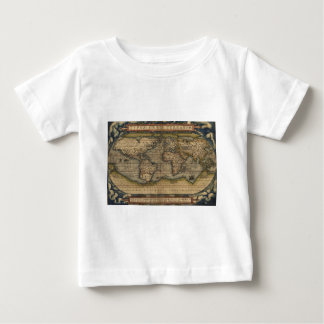 Colorful Antique Vintage World Map Ortelius Baby T-Shirt