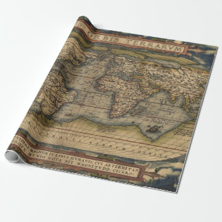 Colorful Antique Vintage World Map Wrapping Paper