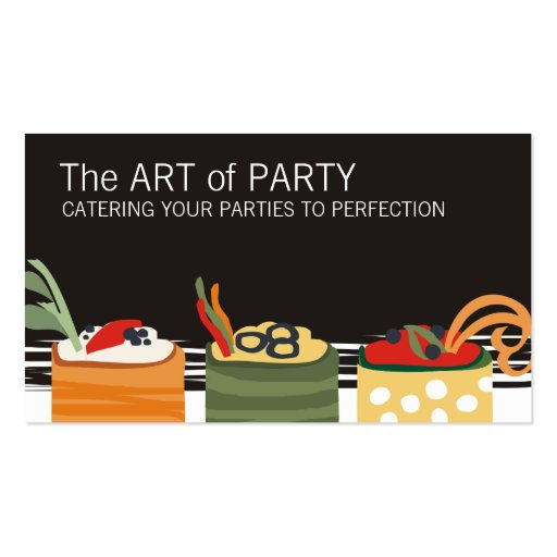 colorful appetizers chef catering business card...
