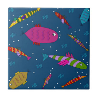 Colorful Aquatic Fish Whimsical Ceramic Tile