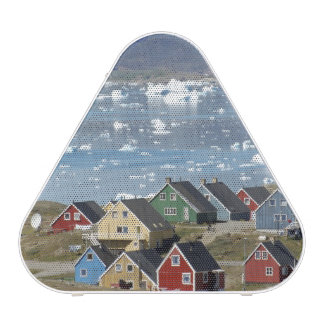 Colorful architecture of the town, Narsaq, Speaker