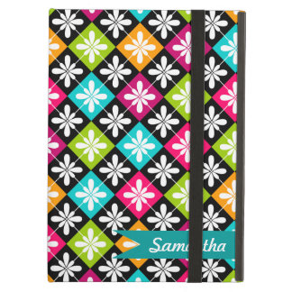 Colorful Argyle and Floral  Pattern Personalized iPad Air Case