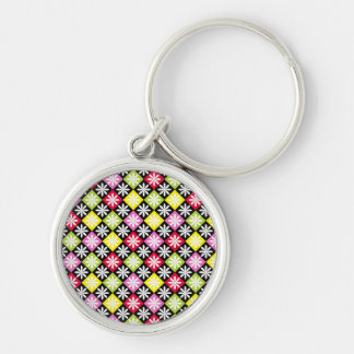 Colorful argyle pattern Silver-Colored round keychain