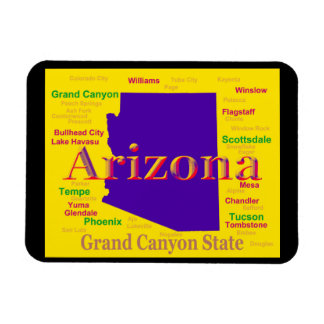Colorful Arizona State Pride Map Rectangular Magnets