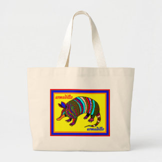 Colorful Armadillo Design by David Large Tote Bag