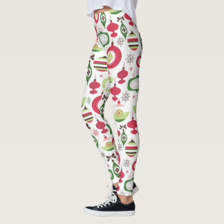 Colorful Art-Deco Christmas Ornaments Pattern Leggings