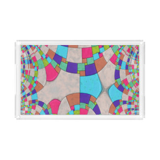 Colorful Art Deco Tile Mosaic Acrylic Tray