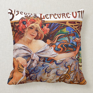 Colorful Art Nouveau Bakery Advertisement Throw Pillow