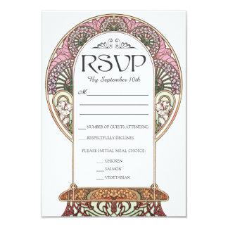 Colorful Art Nouveau Wedding RSVP Cards (Set #9)