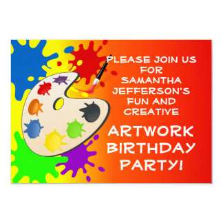 Colorful Art Palate Party 5x7 Paper Invitation Card