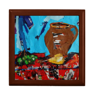 Colorful Art Still Life  Tile Gift Box, Golden Oak Trinket Box
