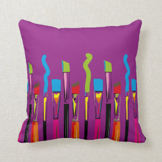 Colorful Artist Tools Contemporary Arts Throw Pillow