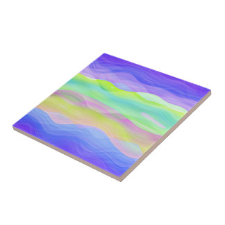 Colorful Artistic Abstract Retro Cool Wave Pattern Tile
