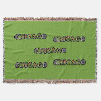 Colorful Artistic Chicago Logo Blanket Throw