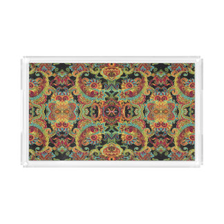 Colorful artistic drawn paisley pattern acrylic tray