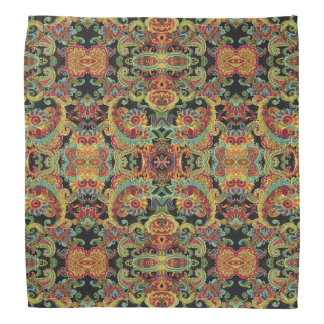 Colorful artistic drawn paisley pattern bandana