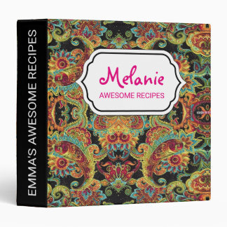 Colorful artistic drawn paisley pattern binders