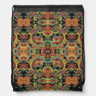 Colorful artistic drawn paisley pattern drawstring bag