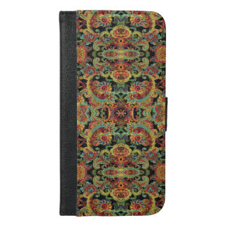 Colorful artistic drawn paisley pattern iPhone 6/6s plus wallet case