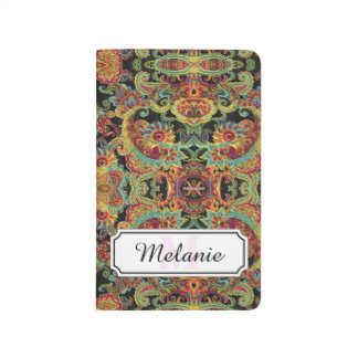 Colorful artistic drawn paisley pattern journal