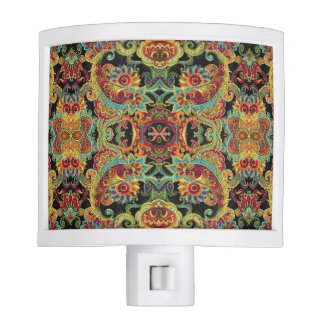 Colorful artistic drawn paisley pattern nite light
