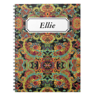 Colorful artistic drawn paisley pattern note books