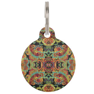Colorful artistic drawn paisley pattern pet name tag