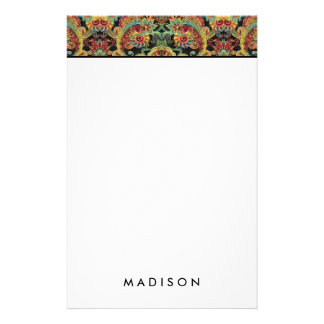 Colorful artistic drawn paisley pattern stationery