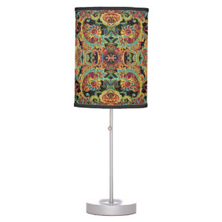 Colorful artistic drawn paisley pattern table lamp