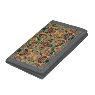 Colorful artistic drawn paisley pattern trifold wallet