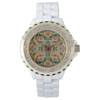 Colorful artistic drawn paisley pattern watch