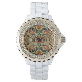 Colorful artistic drawn paisley pattern wristwatches