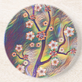 Colorful Artistic Flowering Tree Branches Beverage Coaster