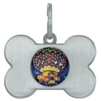 Colorful Artistic Japanese Lantern Pet ID Tag
