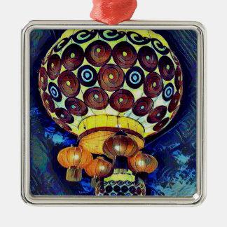 Colorful Artistic Japanese Lantern Silver-Colored Square Ornament