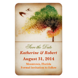 colorful artistic love tree save the date magnet