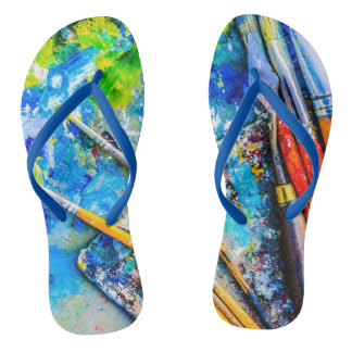 Colorful Artistic Palette And Brushes unique funny Flip Flops