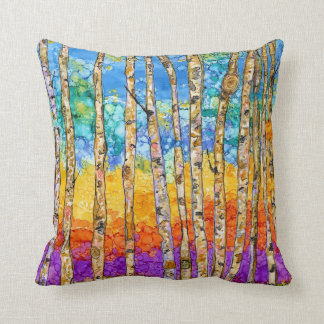 Colorful Aspen Trees Decorative Pillow