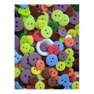 Colorful assorted buttons postcard