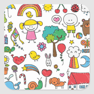 Colorful Assorted Children's Drawing Sticker Seal