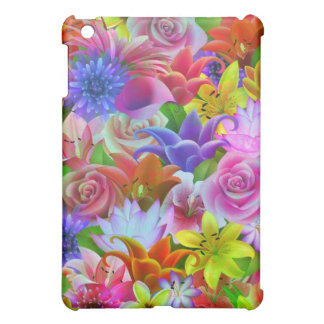 Colorful Assorted Flowers Illustration Collage iPad Mini Cover