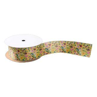 Colorful Assorted Flowers Yellow Background Satin Ribbon